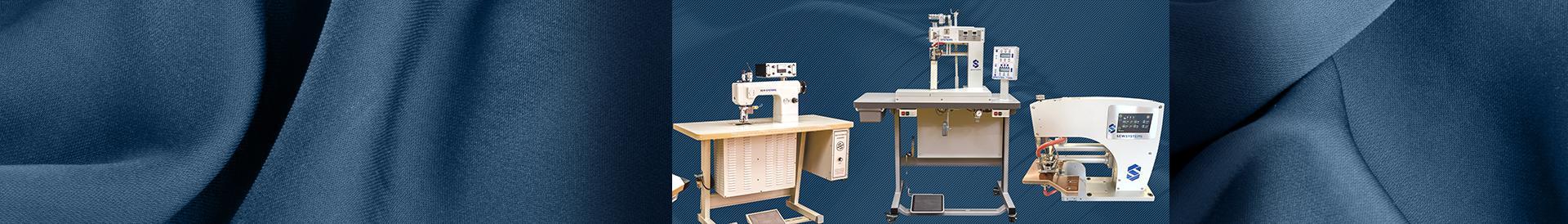 Maszyna do klejenia na niebieskim tle